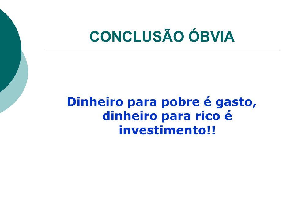 Dinheiro para pobre é gasto, dinheiro para rico é investimento!!