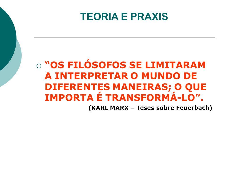 TEORIA E PRAXIS OS FILÓSOFOS SE LIMITARAM A INTERPRETAR O MUNDO DE DIFERENTES MANEIRAS; O QUE IMPORTA É TRANSFORMÁ-LO .