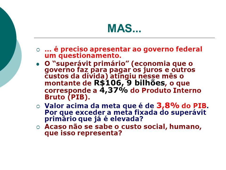 MAS... ... é preciso apresentar ao governo federal um questionamento.