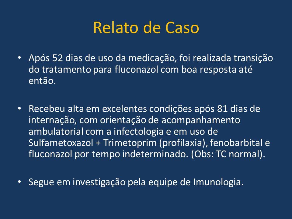 Relato de Caso Após 52 dias de uso da medicação, foi realizada transição do tratamento para fluconazol com boa resposta até então.