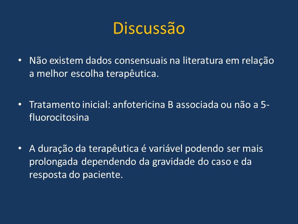 Discussão Não existem dados consensuais na literatura em relação a melhor escolha terapêutica.