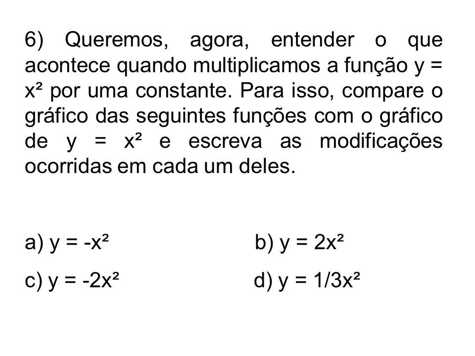 6) Queremos, agora, entender o que acontece quando multiplicamos a função y = x² por uma constante. Para isso, compare o gráfico das seguintes funções com o gráfico de y = x² e escreva as modificações ocorridas em cada um deles.