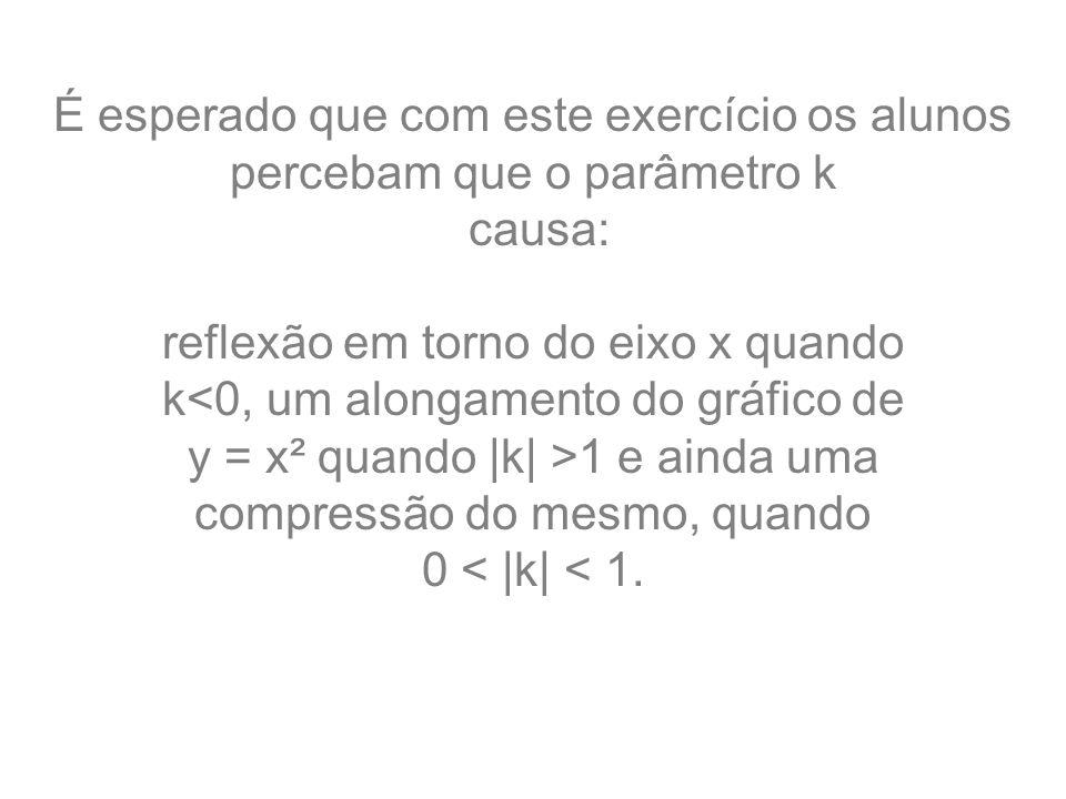 É esperado que com este exercício os alunos percebam que o parâmetro k