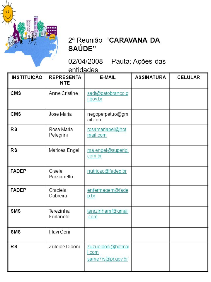 2ª Reunião CARAVANA DA SAÚDE 02/04/2008 Pauta: Ações das entidades