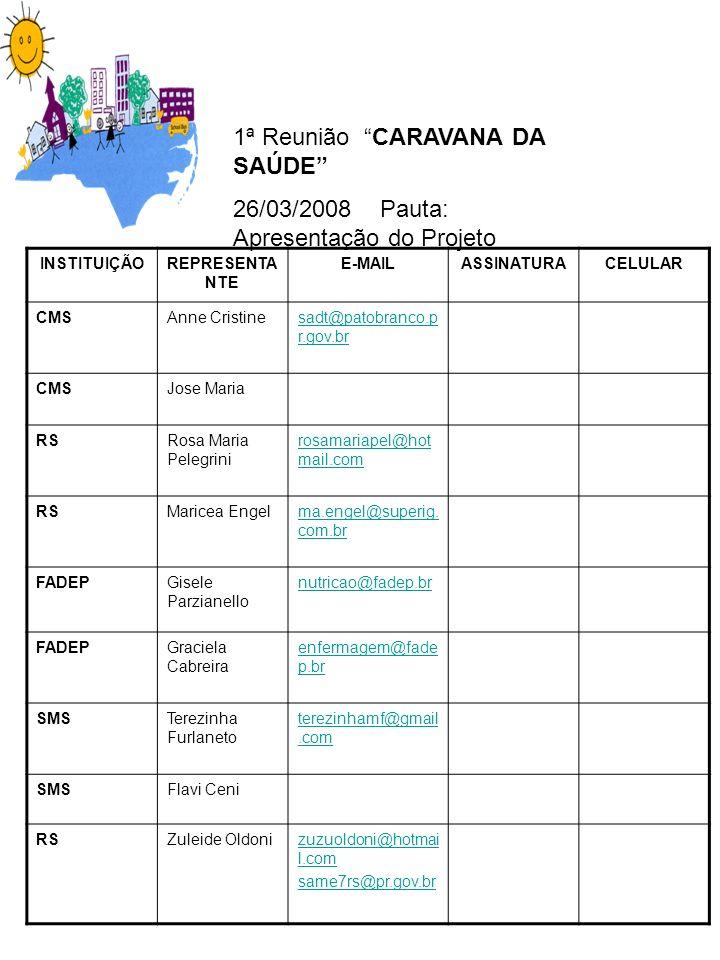 1ª Reunião CARAVANA DA SAÚDE