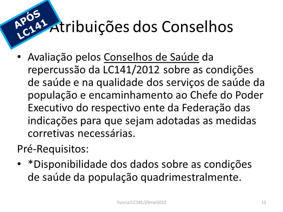 Atribuições dos Conselhos
