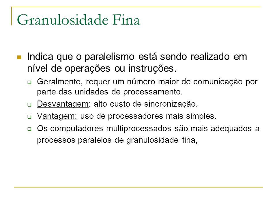Granulosidade Fina Indica que o paralelismo está sendo realizado em nível de operações ou instruções.