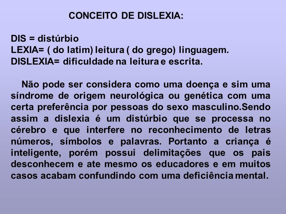 CONCEITO DE DISLEXIA: DIS = distúrbio. LEXIA= ( do latim) leitura ( do grego) linguagem. DISLEXIA= dificuldade na leitura e escrita.