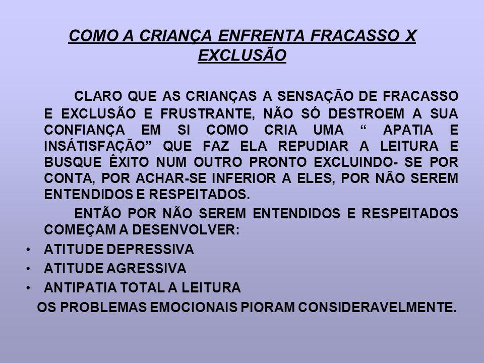 COMO A CRIANÇA ENFRENTA FRACASSO X EXCLUSÃO