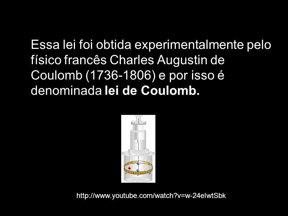 Essa lei foi obtida experimentalmente pelo físico francês Charles Augustin de Coulomb (1736-1806) e por isso é denominada lei de Coulomb.