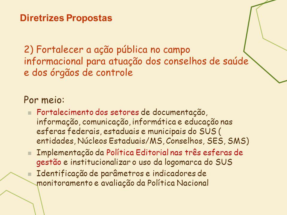Diretrizes Propostas 2) Fortalecer a ação pública no campo informacional para atuação dos conselhos de saúde e dos órgãos de controle.