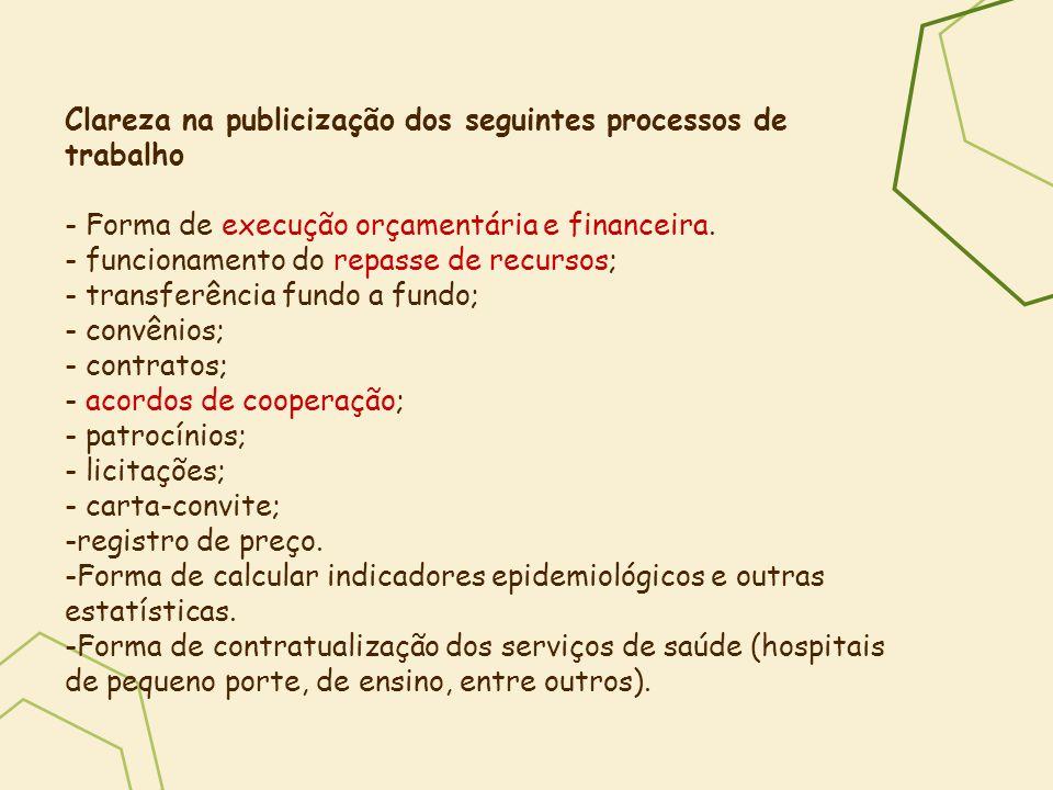 Clareza na publicização dos seguintes processos de trabalho