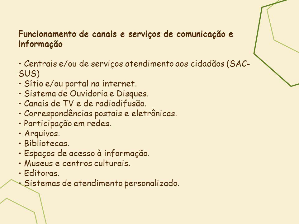 Funcionamento de canais e serviços de comunicação e informação