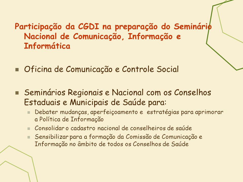 Oficina de Comunicação e Controle Social