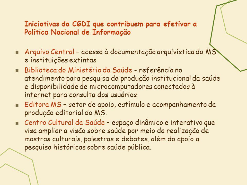 Iniciativas da CGDI que contribuem para efetivar a Política Nacional de Informação