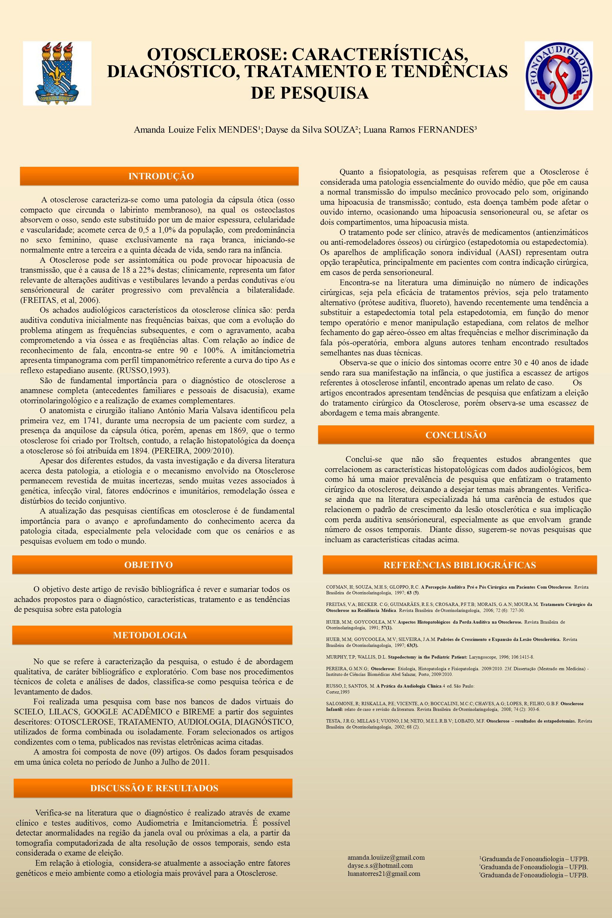 OTOSCLEROSE: CARACTERÍSTICAS, DIAGNÓSTICO, TRATAMENTO E TENDÊNCIAS