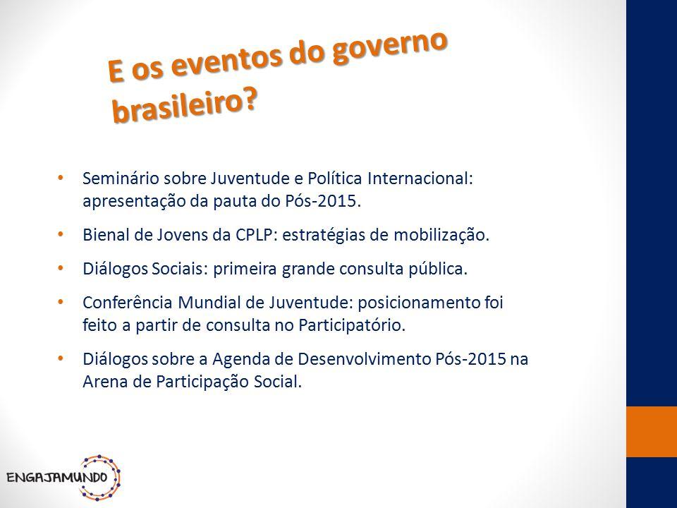 E os eventos do governo brasileiro