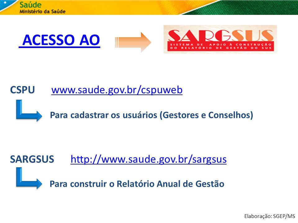 ACESSO AO CSPU www.saude.gov.br/cspuweb