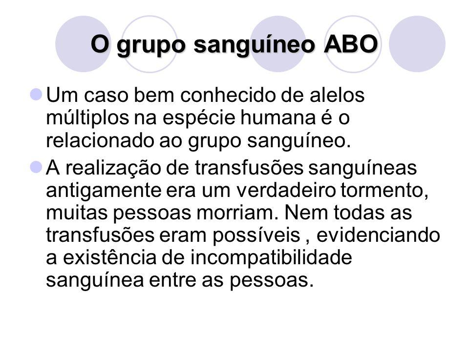 O grupo sanguíneo ABO Um caso bem conhecido de alelos múltiplos na espécie humana é o relacionado ao grupo sanguíneo.