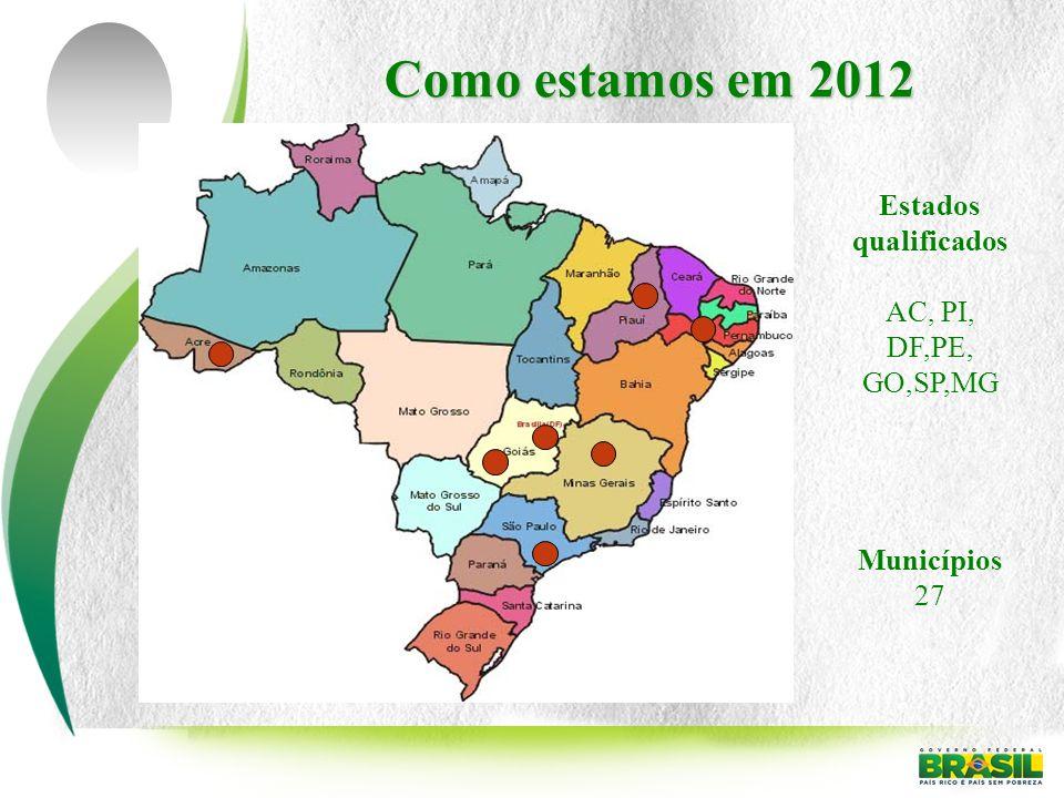 Como estamos em 2012 Estados qualificados AC, PI, DF,PE, GO,SP,MG