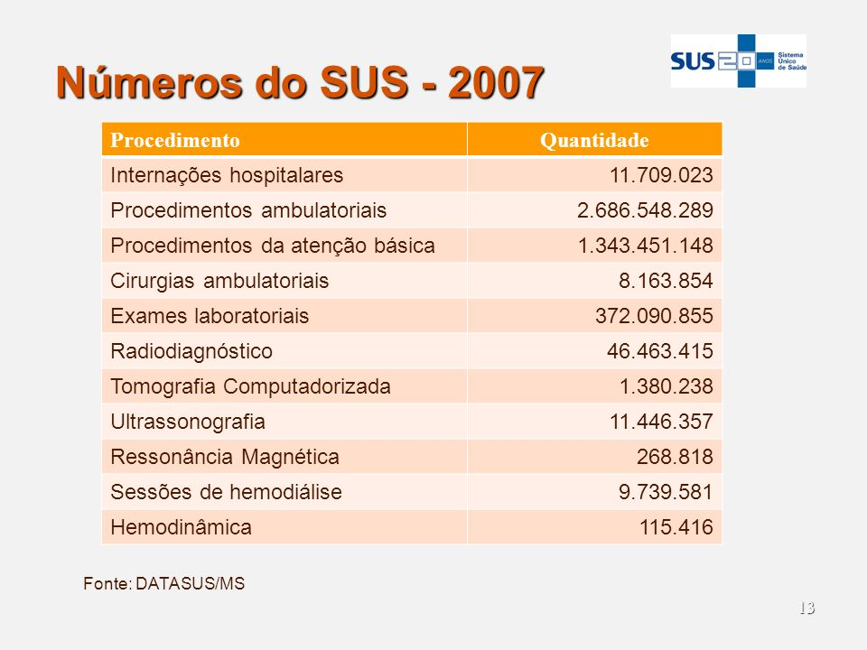 Números do SUS - 2007 Procedimento Quantidade Internações hospitalares
