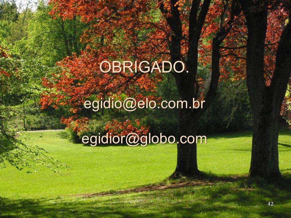 OBRIGADO. egidio@elo.com.br egidior@globo.com 42