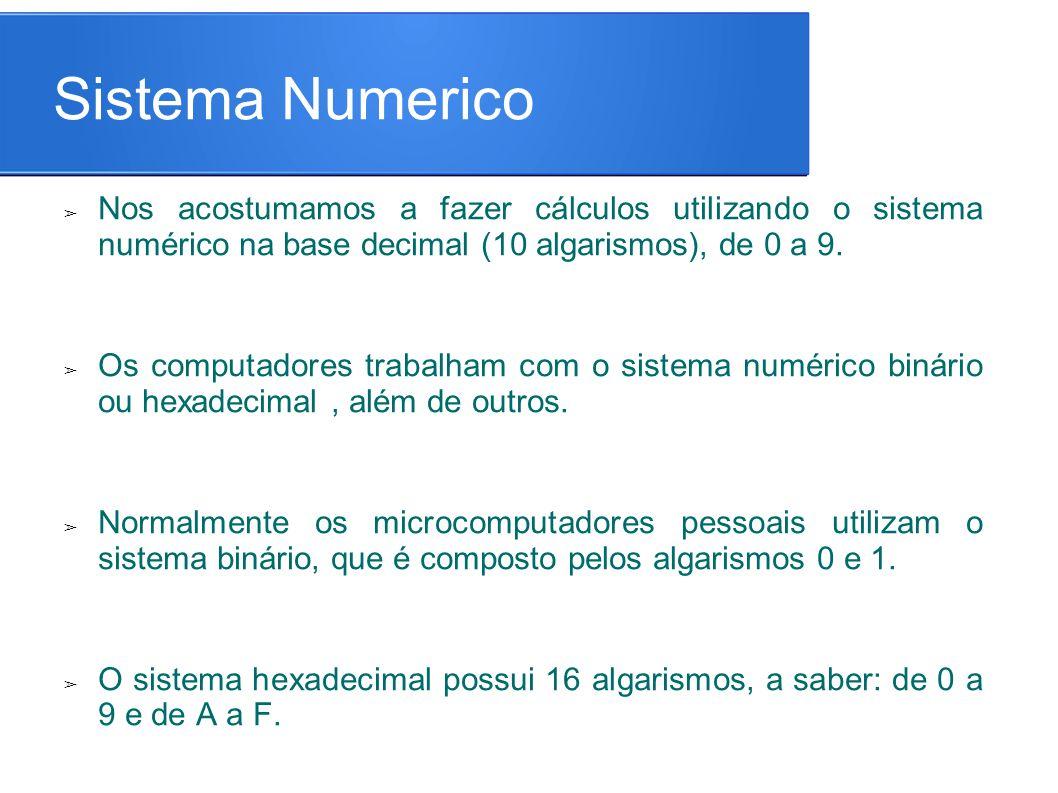 Sistema Numerico Nos acostumamos a fazer cálculos utilizando o sistema numérico na base decimal (10 algarismos), de 0 a 9.