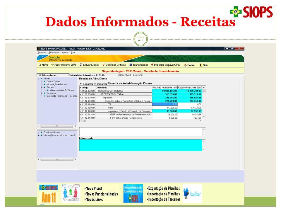 Dados Informados - Receitas