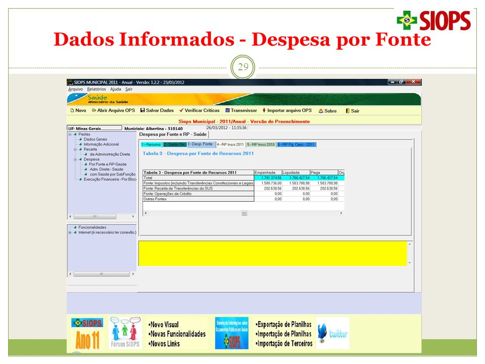 Dados Informados - Despesa por Fonte