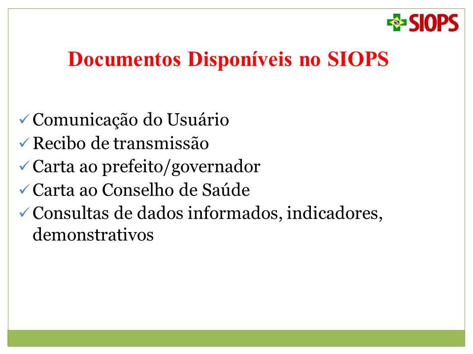Documentos Disponíveis no SIOPS