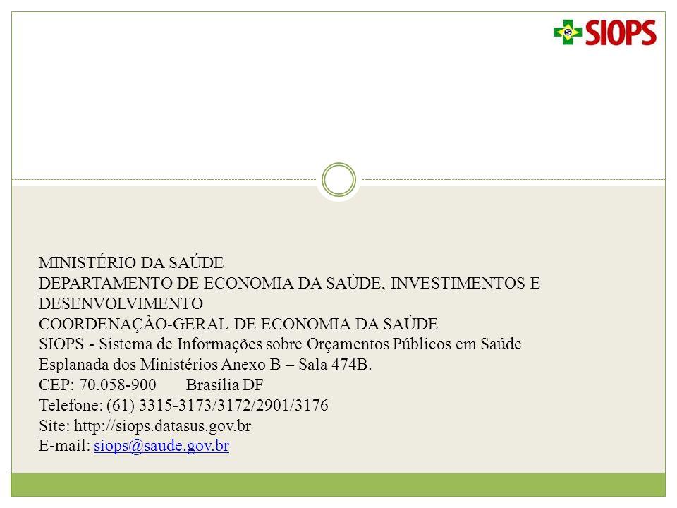 MINISTÉRIO DA SAÚDE DEPARTAMENTO DE ECONOMIA DA SAÚDE, INVESTIMENTOS E DESENVOLVIMENTO. COORDENAÇÃO-GERAL DE ECONOMIA DA SAÚDE.