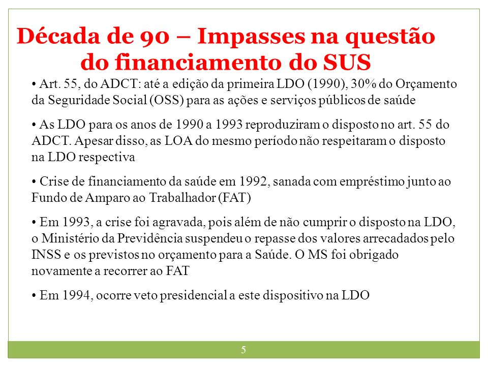 Década de 90 – Impasses na questão do financiamento do SUS