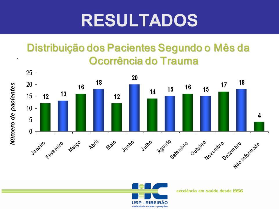 Distribuição dos Pacientes Segundo o Mês da Ocorrência do Trauma
