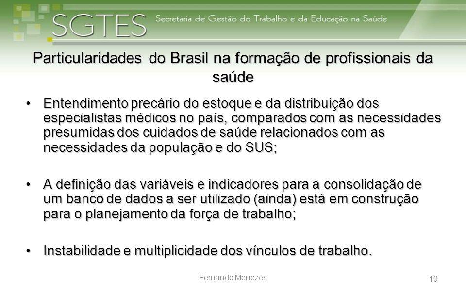 Particularidades do Brasil na formação de profissionais da saúde