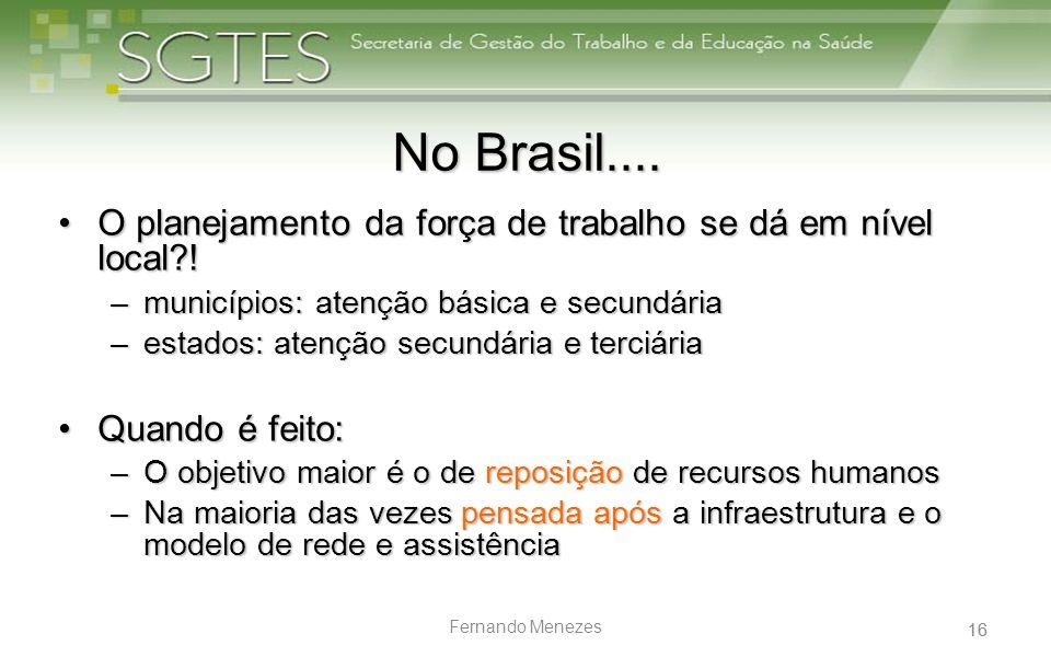 No Brasil.... O planejamento da força de trabalho se dá em nível local ! municípios: atenção básica e secundária.