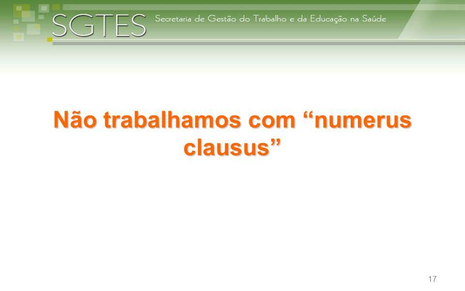 Não trabalhamos com numerus clausus