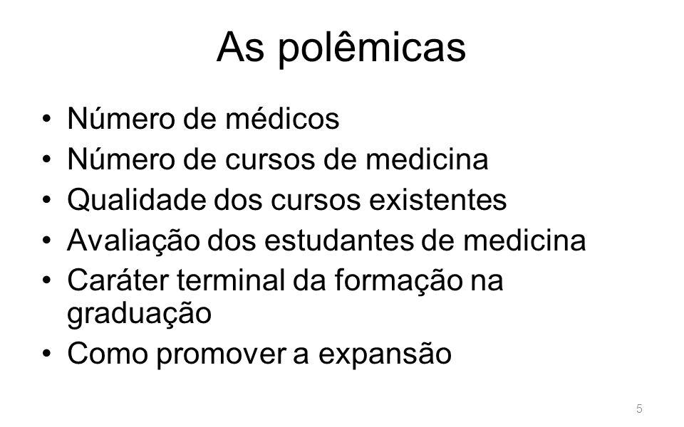 As polêmicas Número de médicos Número de cursos de medicina