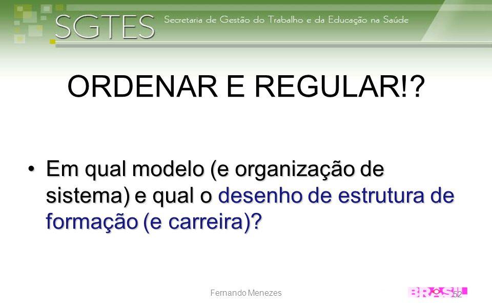 ORDENAR E REGULAR! Em qual modelo (e organização de sistema) e qual o desenho de estrutura de formação (e carreira)