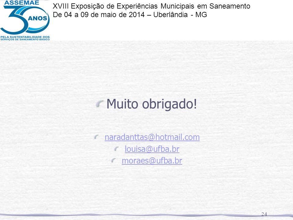 Muito obrigado! naradanttas@hotmail.com louisa@ufba.br moraes@ufba.br