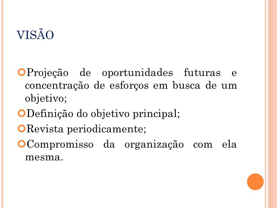 VISÃO Projeção de oportunidades futuras e concentração de esforços em busca de um objetivo; Definição do objetivo principal;