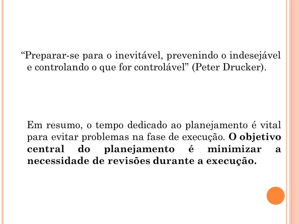 Preparar-se para o inevitável, prevenindo o indesejável e controlando o que for controlável (Peter Drucker).