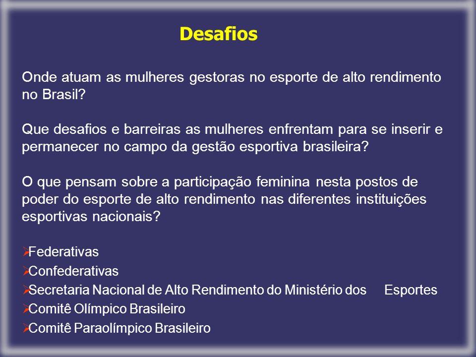 Desafios Onde atuam as mulheres gestoras no esporte de alto rendimento no Brasil