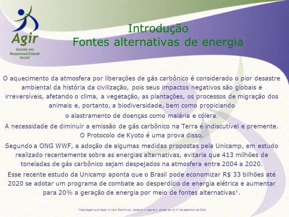 Introdução Fontes alternativas de energia