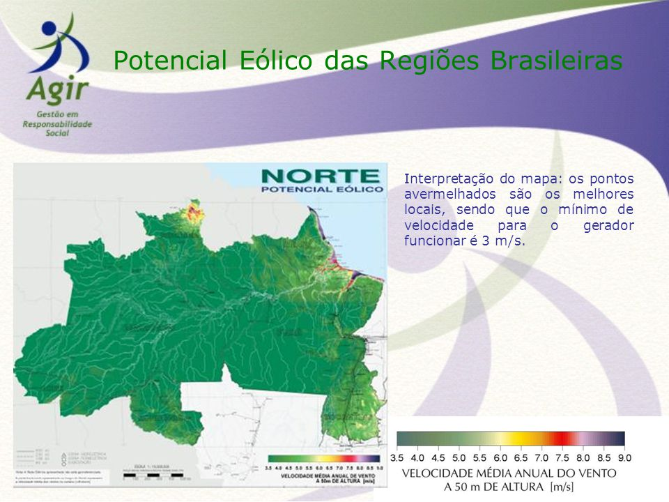 Potencial Eólico das Regiões Brasileiras