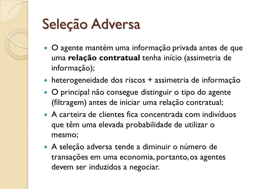 Seleção Adversa O agente mantém uma informação privada antes de que uma relação contratual tenha início (assimetria de informação);