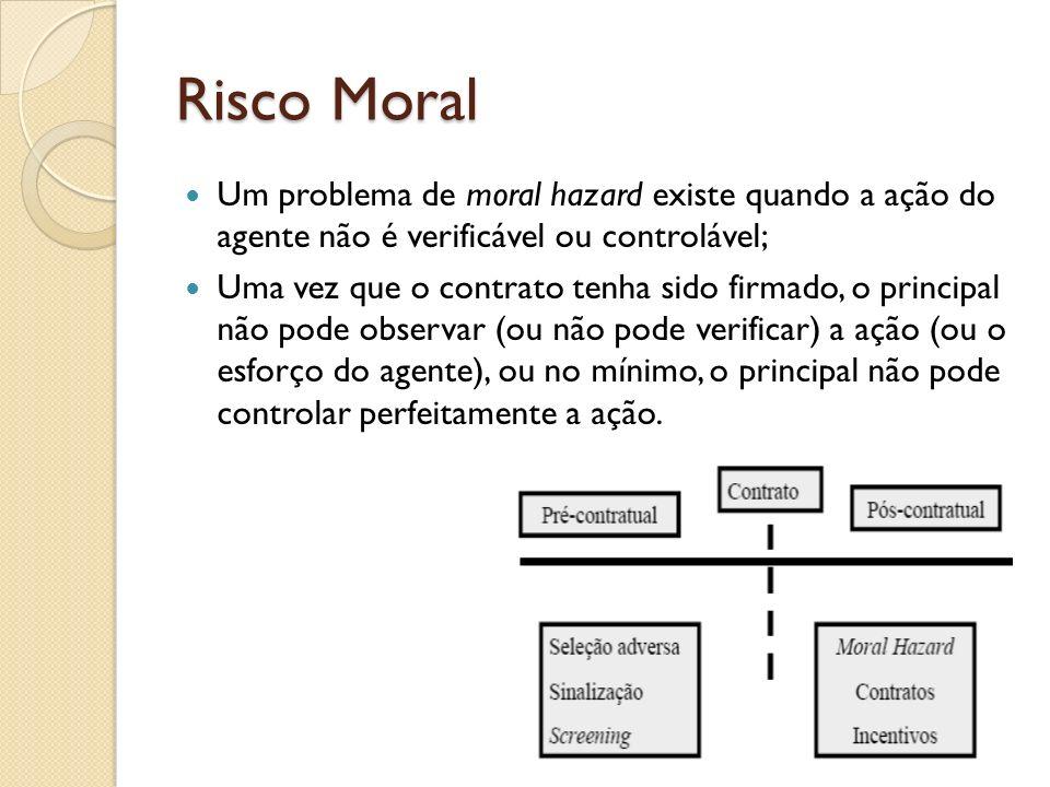 Risco Moral Um problema de moral hazard existe quando a ação do agente não é verificável ou controlável;