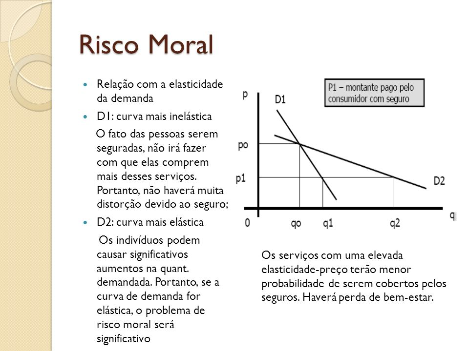 Risco Moral Relação com a elasticidade da demanda