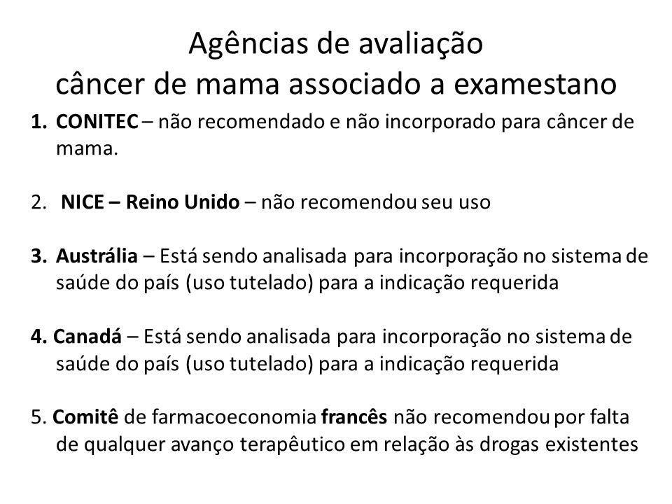 Agências de avaliação câncer de mama associado a examestano