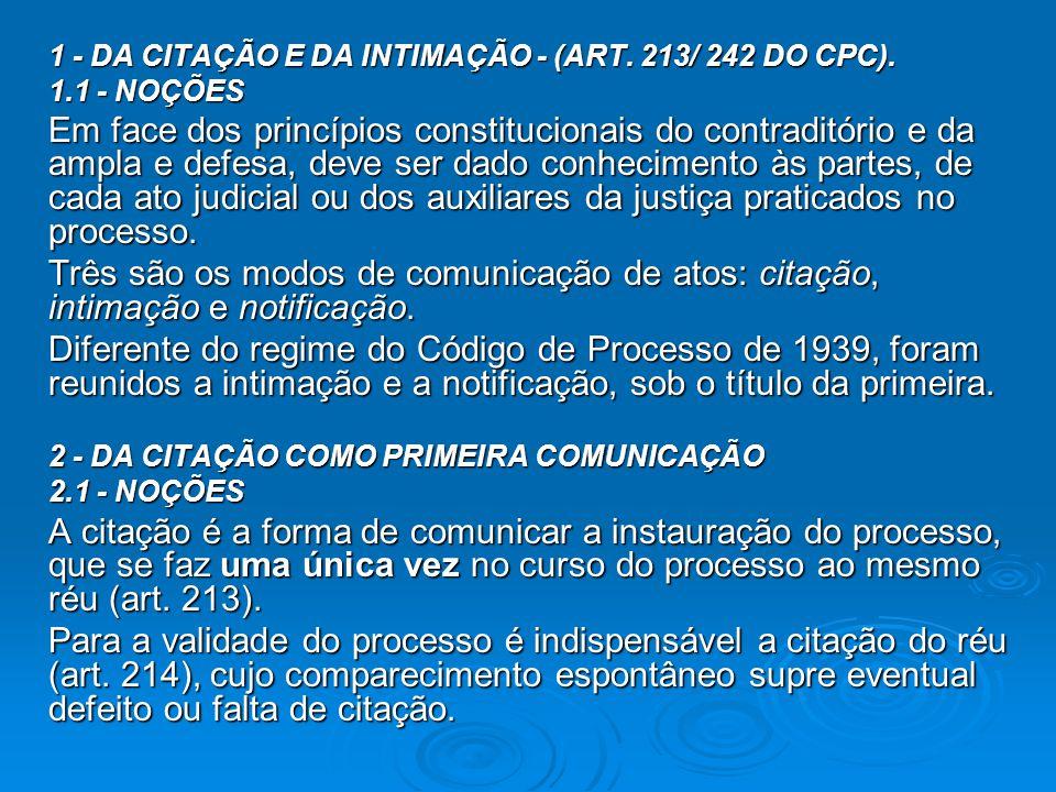 1 - DA CITAÇÃO E DA INTIMAÇÃO - (ART. 213/ 242 DO CPC).
