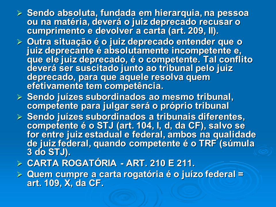 Sendo absoluta, fundada em hierarquia, na pessoa ou na matéria, deverá o juiz deprecado recusar o cumprimento e devolver a carta (art. 209, II).